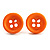 Small Orange Plastic Button Stud Earrings (Silver Tone) -11mm Diameter - view 2