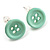 Small Pale Green Plastic Button Stud Earrings (Silver Tone) -11mm Diameter
