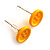 Small Yellow Plastic Button Stud Earrings (Silver Tone) -11mm Diameter - view 3