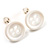 Small Snow White Plastic Button Stud Earrings (Silver Tone) -11mm Diameter