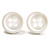 Small Snow White Plastic Button Stud Earrings (Silver Tone) -11mm Diameter - view 2