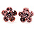 Small Pink Diamante Flower Stud Earrigns (Silver Tone) -2cm Diameter