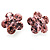 Small Pink Diamante Flower Stud Earrigns (Silver Tone) -2cm Diameter - view 6