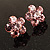 Small Pink Diamante Flower Stud Earrigns (Silver Tone) -2cm Diameter - view 2