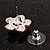 Small Pink Diamante Flower Stud Earrigns (Silver Tone) -2cm Diameter - view 3