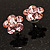 Small Pink Diamante Flower Stud Earrigns (Silver Tone) -2cm Diameter - view 4