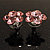 Small Pink Diamante Flower Stud Earrigns (Silver Tone) -2cm Diameter - view 8