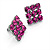 Magenta Diamante Square Stud Earrings (Black Tone Metal)