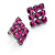 Magenta Diamante Square Stud Earrings (Black Tone Metal) - view 2