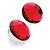 Bright Red Round Faceted Acrylic Stud Earrings - 3cm Diameter - view 2
