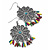 Floral Filigree Beaded Drop Earrings (Antique Silver) - 6cm Drop - view 2
