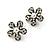 Charming Diamante Simulated Pearl Daisy Stud Earrings (Burn Gold Metal) - 2.5cm Diameter - view 2