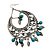 Oversized Bead &amp; Leaf Charm Hoop Earrings (Antique Silver Tone) - 7cm Diameter - view 4