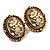Antique Gold Floral Cameo Clip-On Earrings - view 2