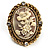 Antique Gold Floral Cameo Clip-On Earrings - view 4