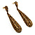 Antique Gold Swarovski Crystal Teardrop Earrings - 7.5cm Drop - view 2