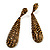 Antique Gold Swarovski Crystal Teardrop Earrings - 7.5cm Drop - view 4
