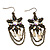 Bronze Tone Floral Chain Drop Earrings - 6.5cm Length