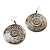 Burn Silver Hammered Disk Drop Earrings - 4.5cm Diameter - view 3
