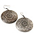 Burn Silver Hammered Disk Drop Earrings - 4.5cm Diameter - view 5