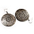 Burn Silver Hammered Disk Drop Earrings - 4.5cm Diameter - view 4
