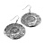 Burn Silver Hammered Disk Drop Earrings - 4.5cm Diameter - view 7