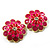 Bright Pink Enamel Floral Clip On Earrings -3.5cm Diameter - view 1