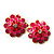 Bright Pink Enamel Floral Clip On Earrings -3.5cm Diameter - view 4