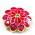 Bright Pink Enamel Floral Clip On Earrings -3.5cm Diameter - view 3