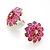 Bright Pink Enamel Floral Clip On Earrings -3.5cm Diameter - view 6