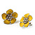 Yellow Enamel Floral Stud Earrings (Silver Tone) - 3cm Diameter