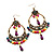 Multicoloured Acrylic Bead Hoop Earrings (Gold Tone) - 9cm Drop - view 6
