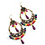 Multicoloured Acrylic Bead Hoop Earrings (Gold Tone) - 9cm Drop - view 5