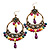 Multicoloured Acrylic Bead Hoop Earrings (Gold Tone) - 9cm Drop