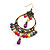 Multicoloured Acrylic Bead Hoop Earrings (Gold Tone) - 9cm Drop - view 4