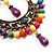 Multicoloured Acrylic Bead Hoop Earrings (Gold Tone) - 9cm Drop - view 2