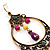Multicoloured Acrylic Bead Hoop Earrings (Gold Tone) - 9cm Drop - view 3