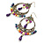 Multicoloured Acrylic Bead Hoop Earrings (Gold Tone) - 9cm Drop - view 7
