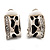Small C-Shape Diamante Animal Print Clip On Earrings (Silver Tone) - view 3
