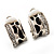 Small C-Shape Diamante Animal Print Clip On Earrings (Silver Tone) - view 7