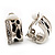 Small C-Shape Diamante Animal Print Clip On Earrings (Silver Tone) - view 6