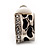 Small C-Shape Diamante Animal Print Clip On Earrings (Silver Tone) - view 5