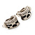 Small C-Shape Diamante Animal Print Clip On Earrings (Silver Tone) - view 8