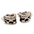 Small C-Shape Diamante Animal Print Clip On Earrings (Silver Tone) - view 9