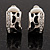 Small C-Shape Diamante Animal Print Clip On Earrings (Silver Tone)