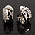 Small C-Shape Diamante Animal Print Clip On Earrings (Silver Tone) - view 2