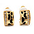 Small C-Shape Diamante Animal Print Clip On Earrings (Gold Tone)