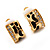 Small C-Shape Diamante Animal Print Clip On Earrings (Gold Tone) - view 10
