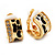 Small C-Shape Diamante Animal Print Clip On Earrings (Gold Tone) - view 3