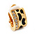 Small C-Shape Diamante Animal Print Clip On Earrings (Gold Tone) - view 8